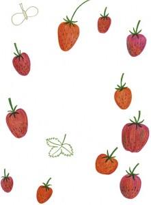Camilla Pentin kuvitusta Kaikki hyvin kasvimaalla -runokirjasta.