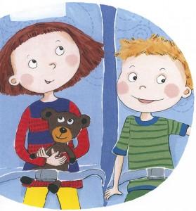 Elsa ja Lauri matkustavat Nadja Sarellin kuvittamassa kirjassa.