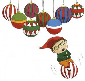 Terese Bastin kuvitusta teoksesta Soiva joululaulukirja koko perheelle.