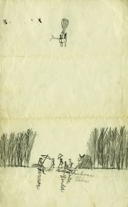 Janne-poika piirsi itsensä kuumailmapallon kyytiin. Kuva Hämeenlinnan kaupungin historiallinen museo