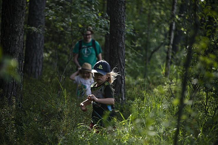 Lapsi juoksee, metsä