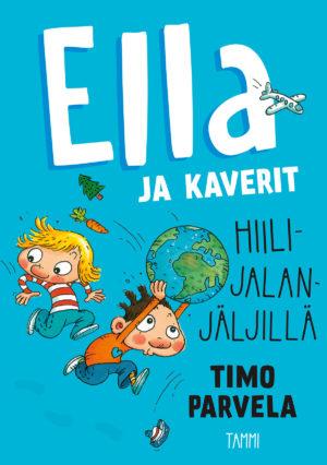 Ella ja kaverit hiilijalanjäljillä -kirjan kansi. Kaksi lasta, toinen pitää maapalloa päänsä yläpuolella.