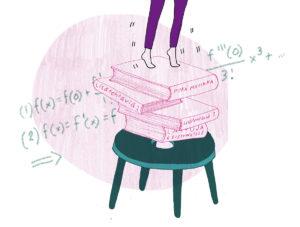 Kuvassa lapsen jalat koulukirjojen päällä, joita on kasattu tuolille.