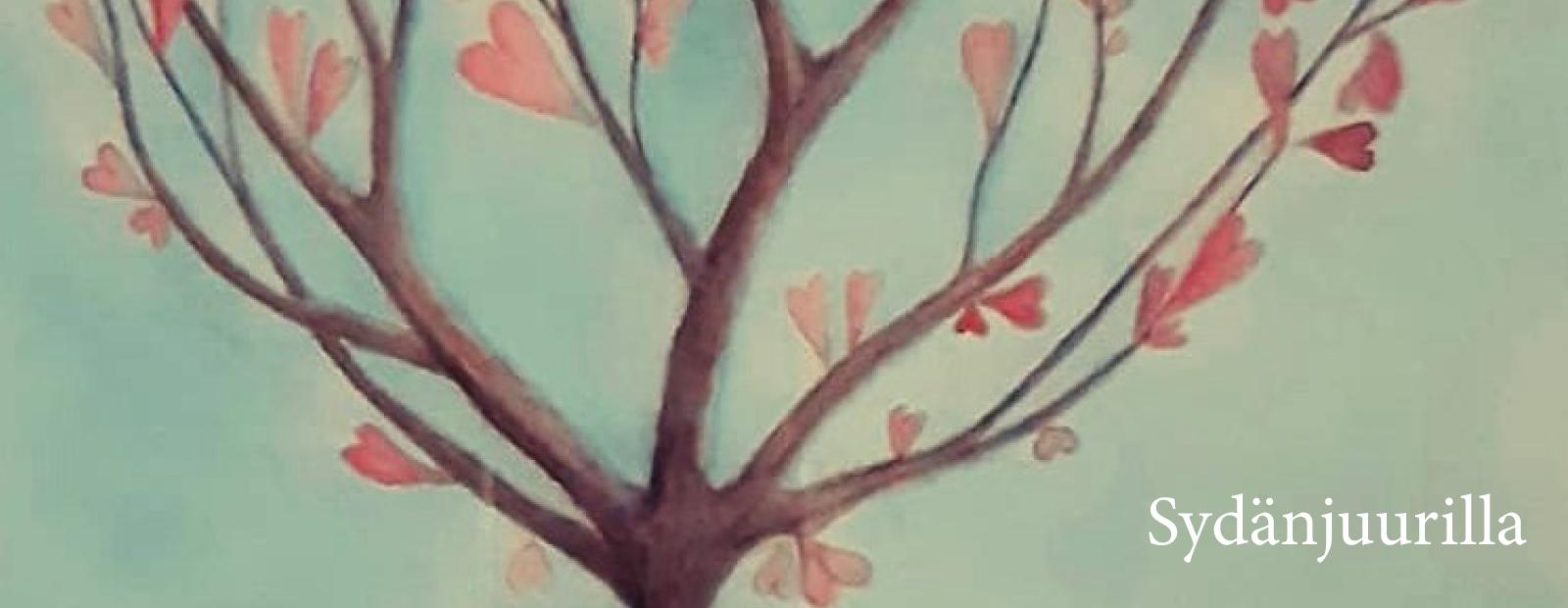 Puu, jossa on sydämiä. Teksti: Sydänjuurilla.