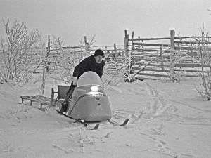 Moottorikelkka mullisti poronhoitajaperheiden elämän. (kuva Pauli Laalo / Lapin maakuntamuseon kokoelmat)