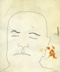 Sibelius nauttimassa lämpimästä kylvystä? Ei ainakaan siinä Yousuf Karshin 1949 ottamassa ja ikoniseksi muodostuneessa valokuvassa, jonka pohjalta Andy Warhol noin 1953 piirsi tämän kuvan. Warholin piirros on esillä Kansallismuseon Sibelius-näyttelyssä. Kuva Daniel Blau Munich/London. Andy Warhol Artwork © 2014